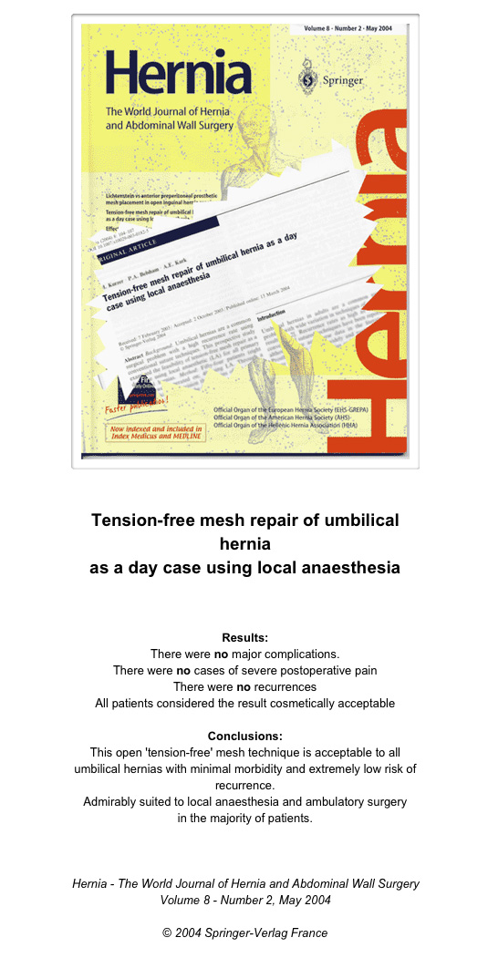 TENSION-FREE MESH REPAIR OF UMBILICAL HERNIA AS A DAY CASE USING ...